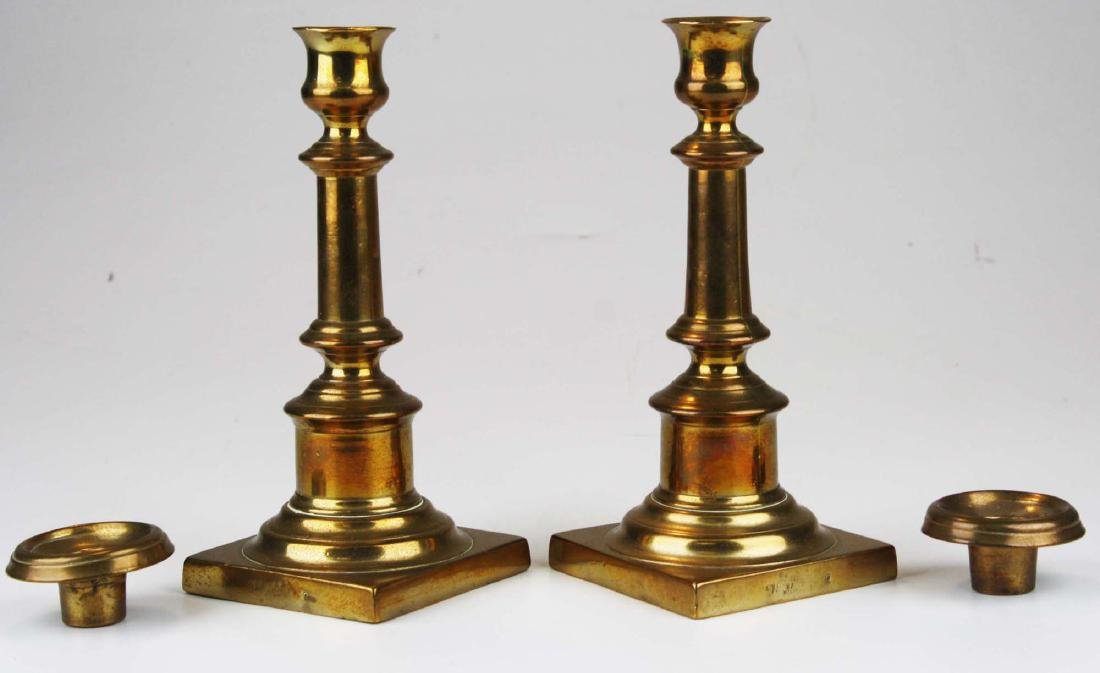 18th c bell metal brass signed candlesticks - 2