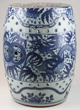 Chinese blue and white dragon decorated porcelain