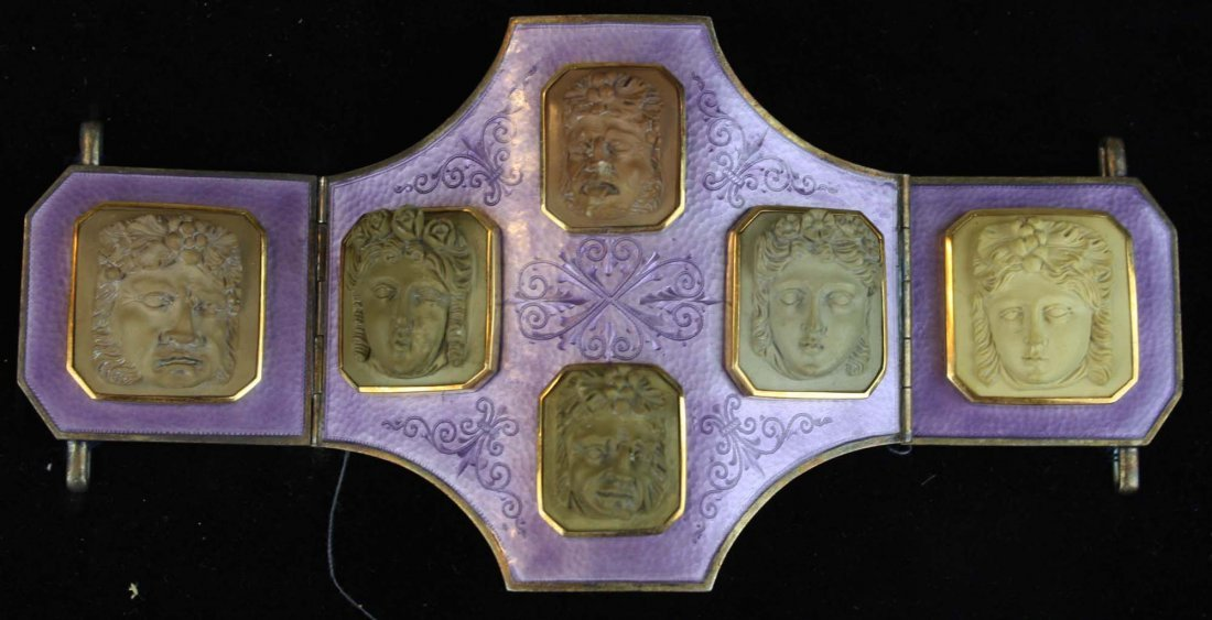 19th c silver, purple enamel and lava cameo belt buckle
