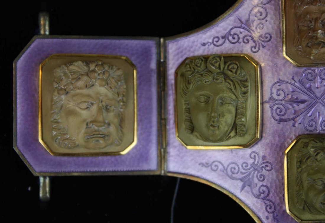 19th c silver, purple enamel and lava cameo belt buckle - 2