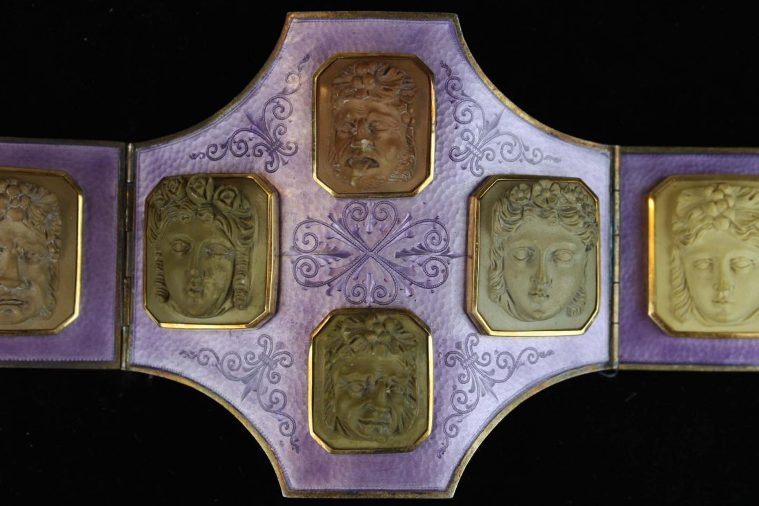19th c silver, purple enamel and lava cameo belt buckle - 3