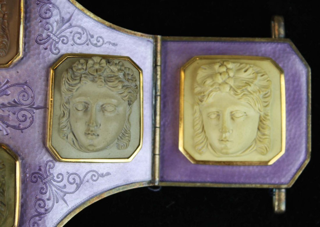 19th c silver, purple enamel and lava cameo belt buckle - 4