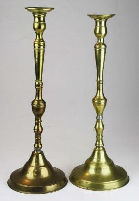 assembled pr of tall brass candlesticks