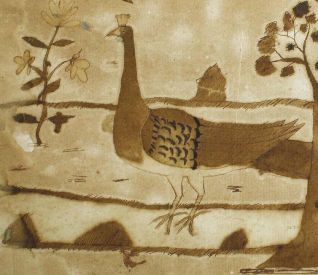 late 18th c folky schoolgirl ink & ink wash of birds - 3