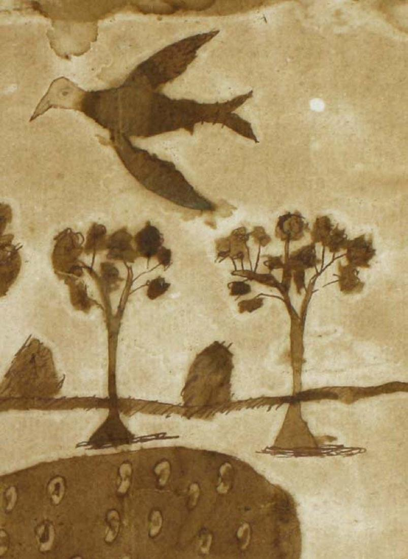 late 18th c folky schoolgirl ink & ink wash of birds - 4