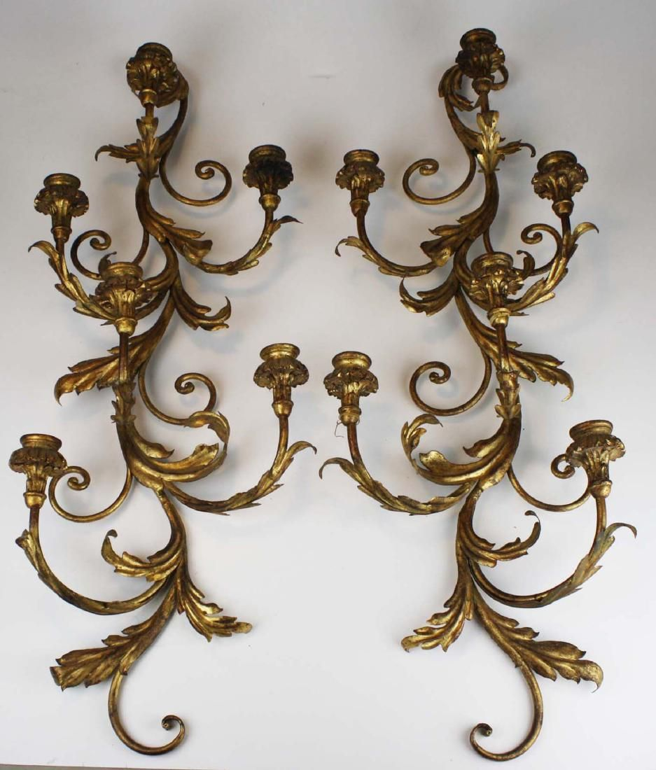 pr of 20th c Italian candlestick wall sconces