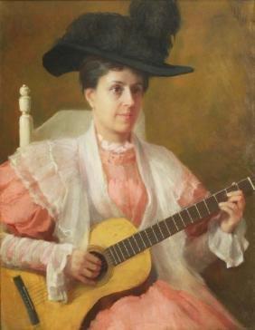 Boston School portrait of a woman playing guitar