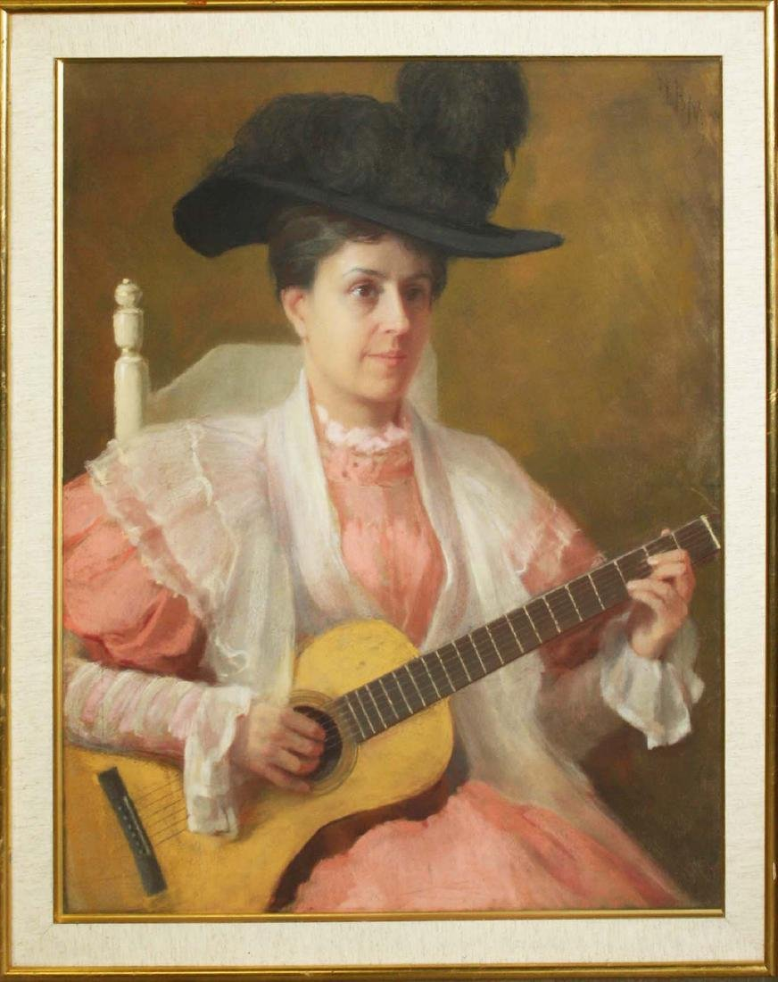 Boston School portrait of a woman playing guitar - 2