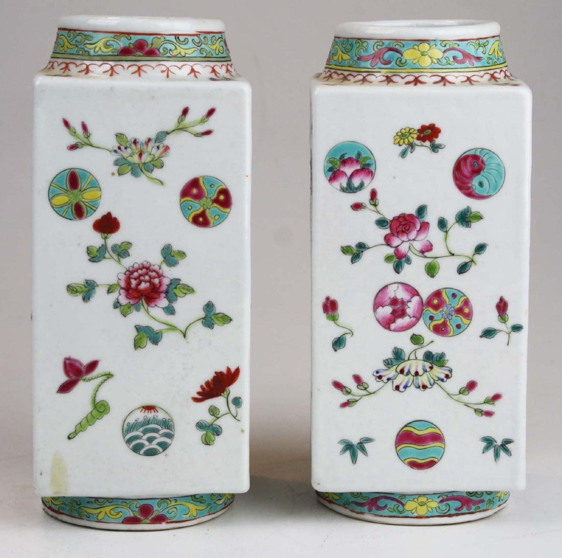 Pair of Chinese famile rose square body vases.