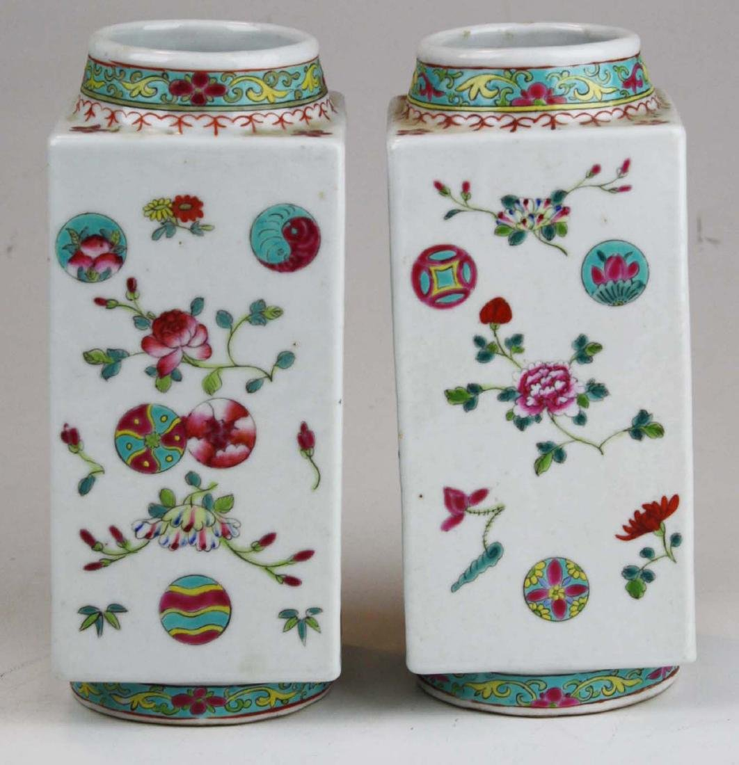 Pair of Chinese famile rose square body vases. - 2