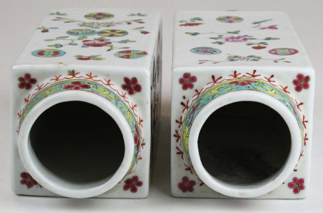 Pair of Chinese famile rose square body vases. - 4