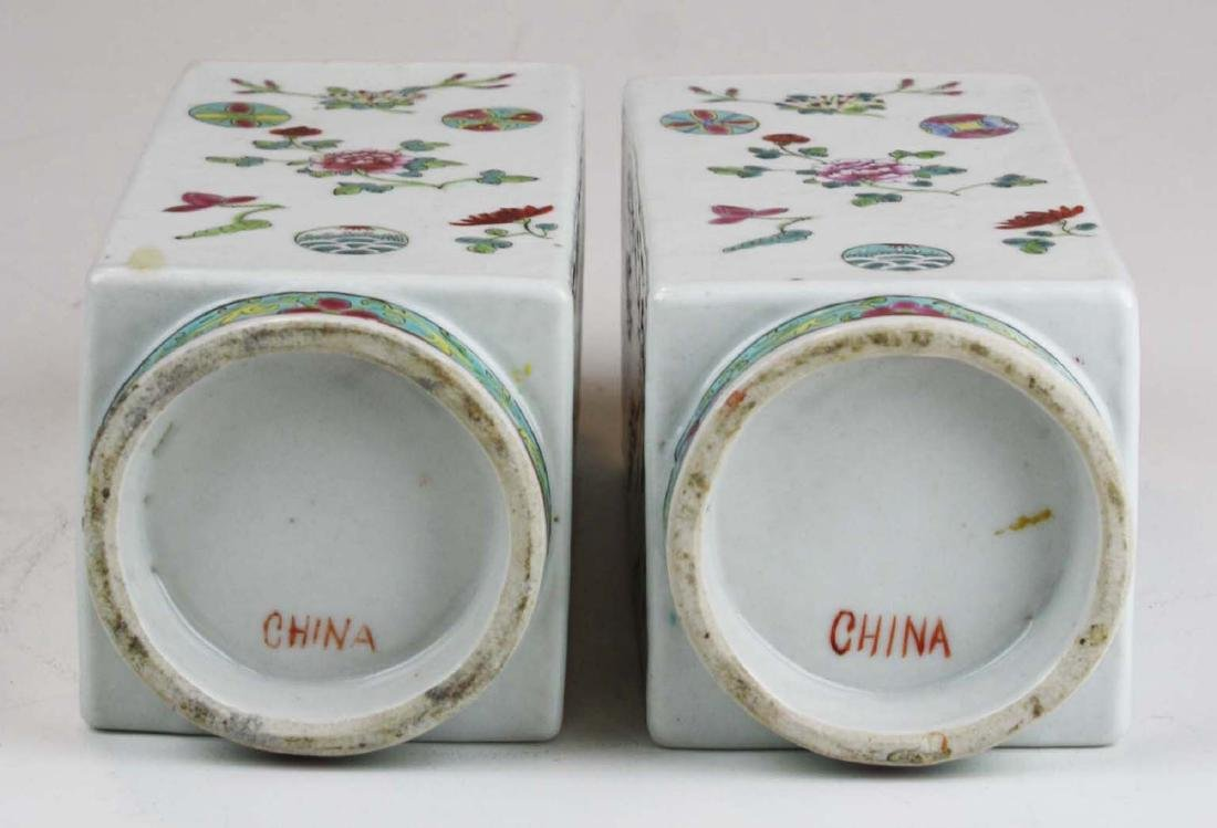 Pair of Chinese famile rose square body vases. - 5