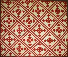 late 19th c red & white quilt