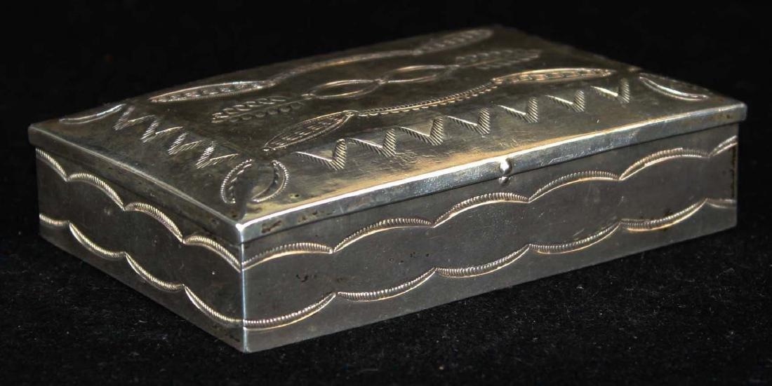 Navajo Southwest silver hand hammered desk box - 2