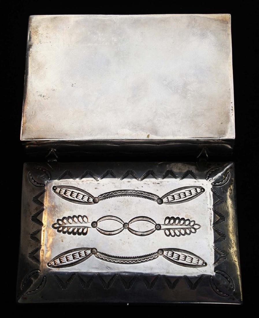 Navajo Southwest silver hand hammered desk box - 4