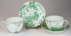Two unusual Royal Crown Derby  Green Aves oversized tea