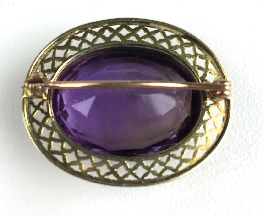 14k yellow gold amethyst oval cut brooch. - 2