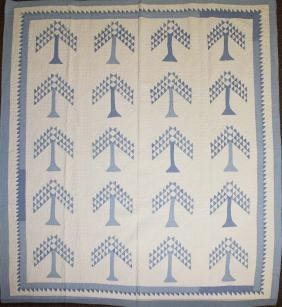 late 19th c pine tree pattern pieced quilt