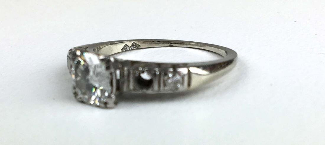 Ca. 1910 Ladies 14k white gold diamond engagement ring. - 2