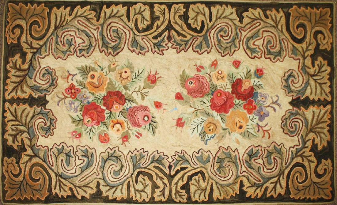 late 19th c floral hooked rug with leaf border
