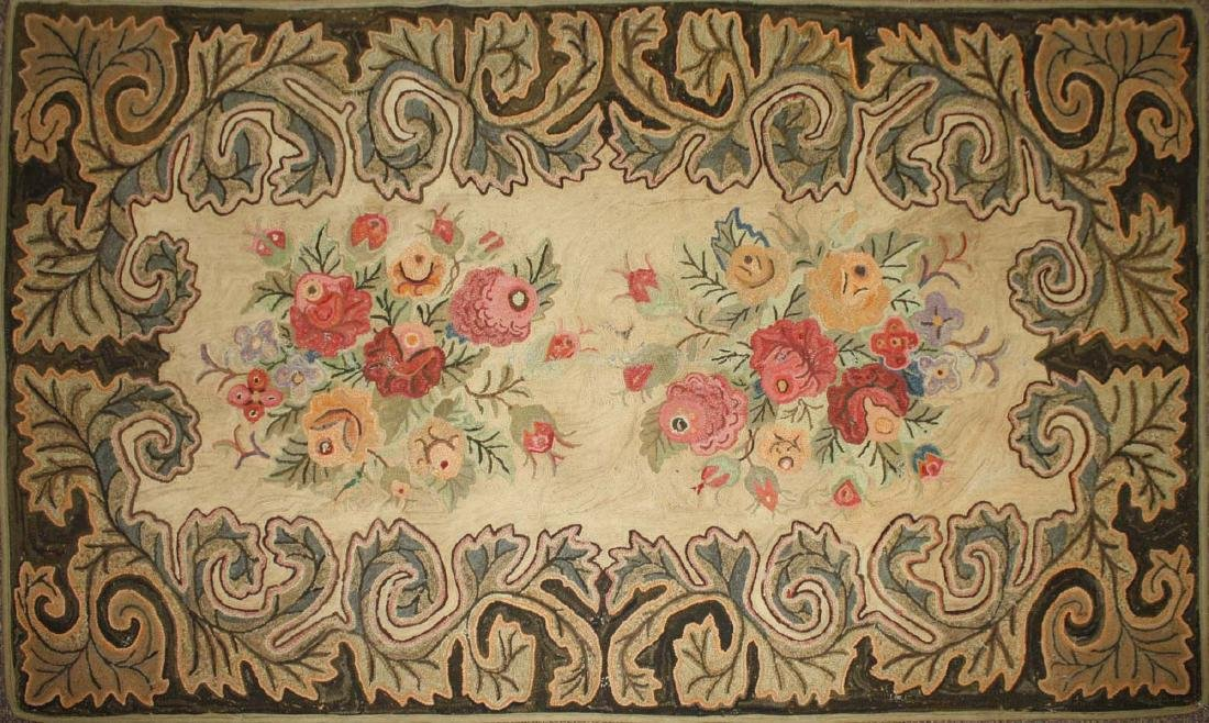 late 19th c floral hooked rug with leaf border - 2