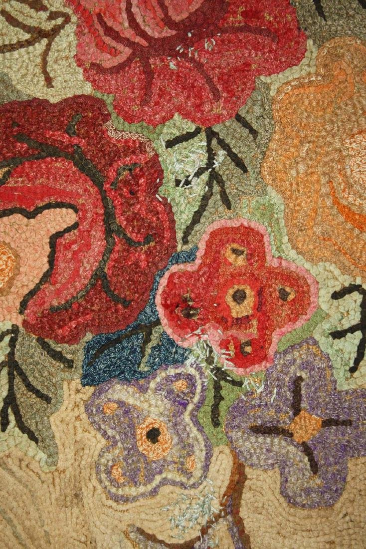 late 19th c floral hooked rug with leaf border - 3