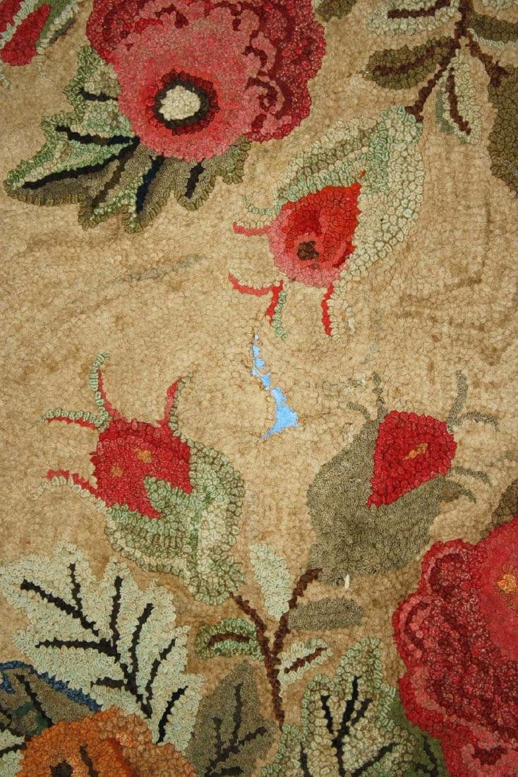 late 19th c floral hooked rug with leaf border - 4