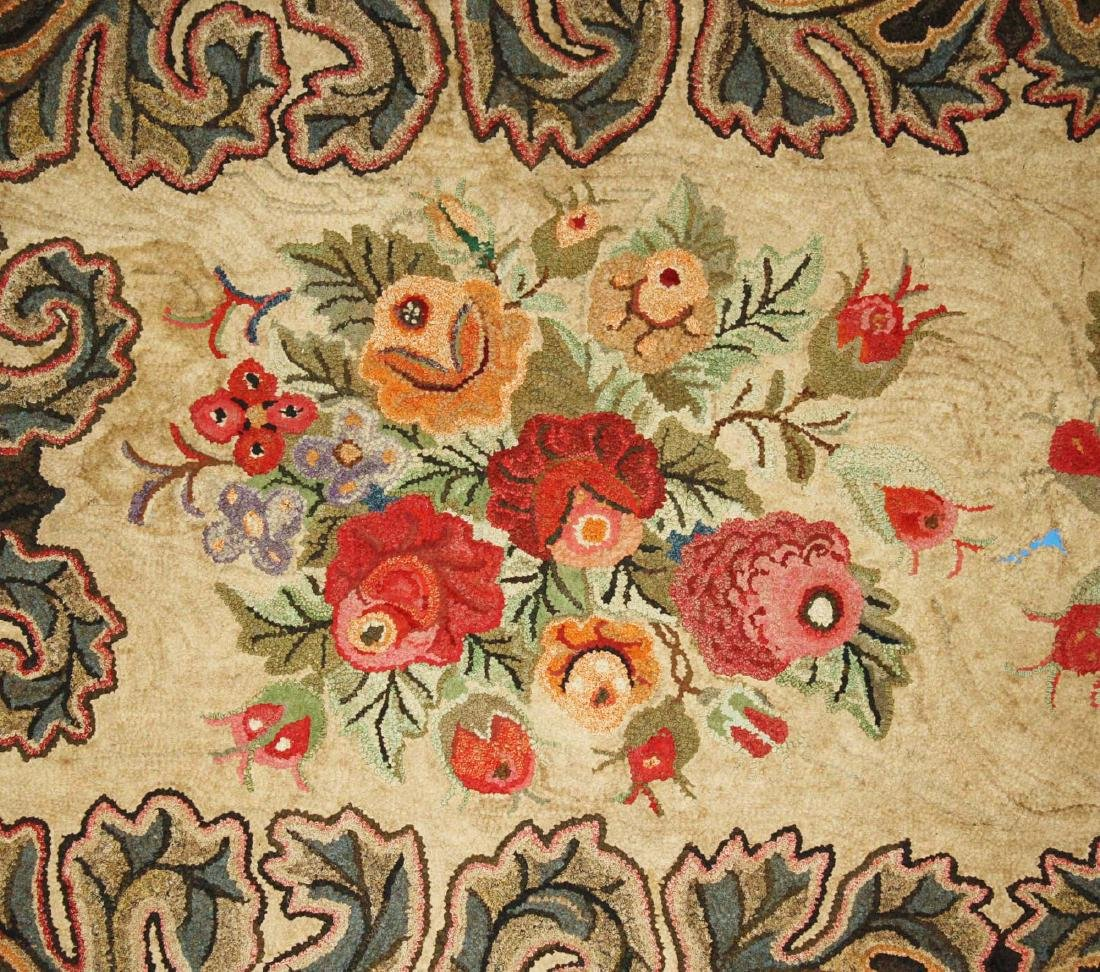 late 19th c floral hooked rug with leaf border - 5