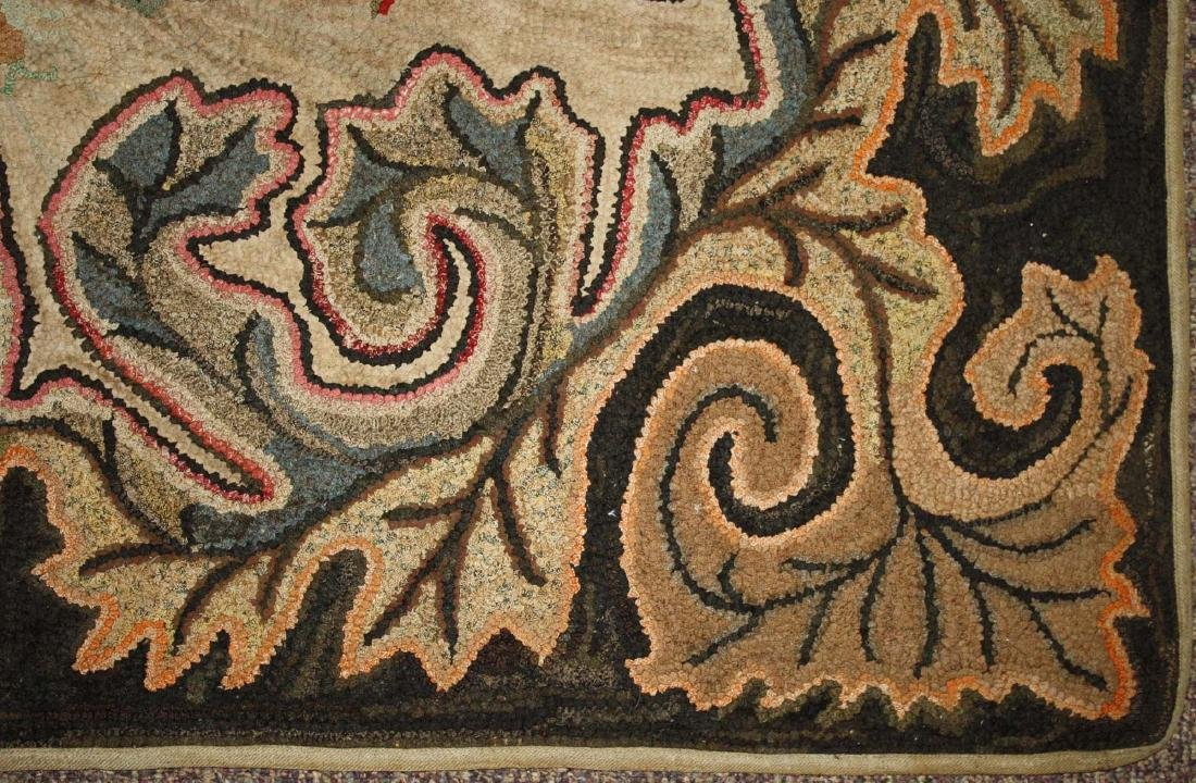 late 19th c floral hooked rug with leaf border - 6