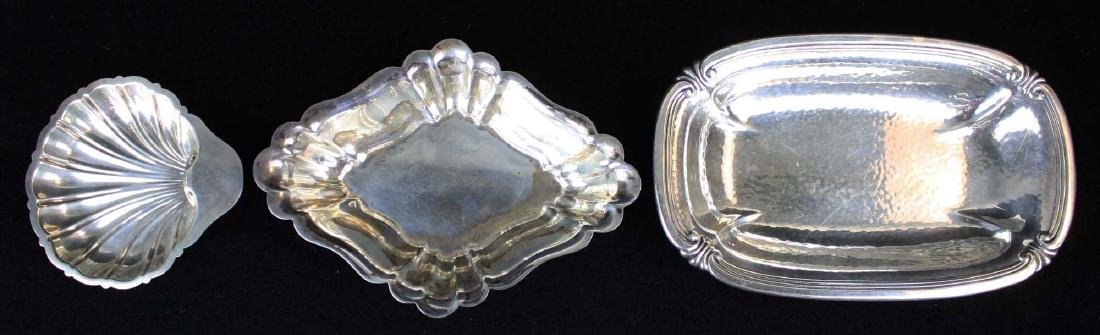 3 pcs sterling silver holloware, serving dishes
