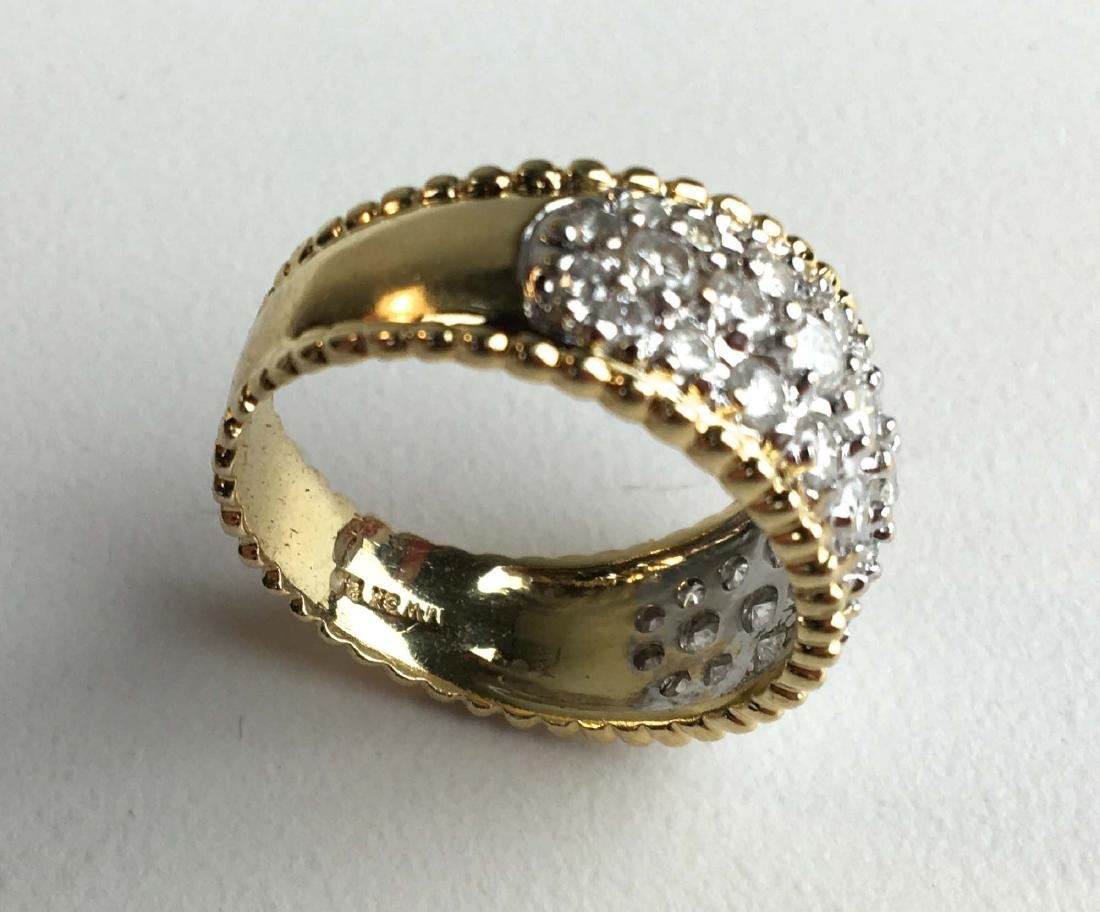 Men's 14k y.g and diamond pave ring. - 2