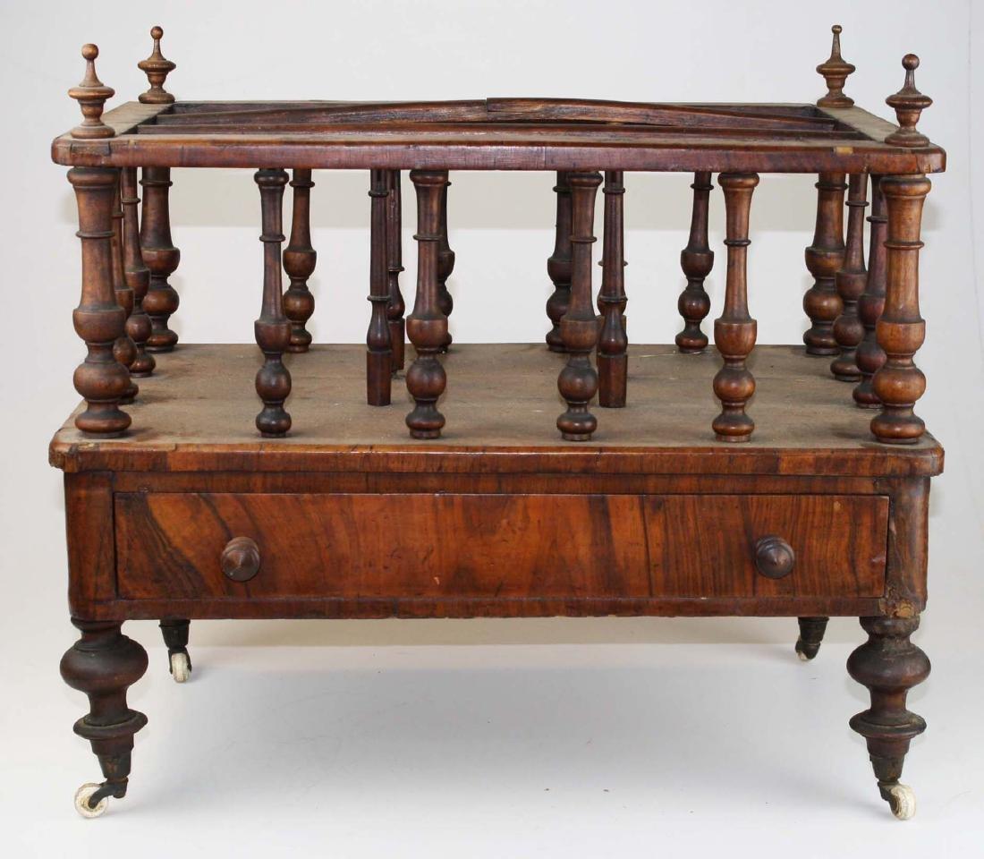 19th c Empire mahogany veneered 1 drawer canterbury