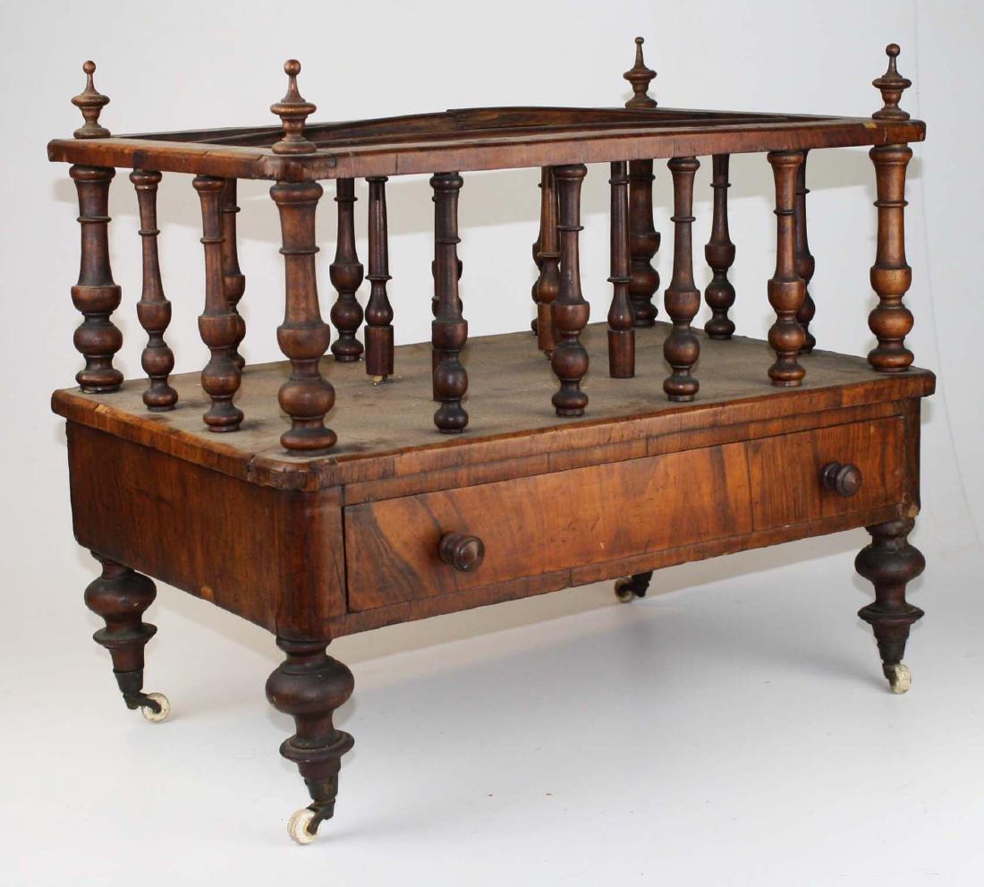 19th c Empire mahogany veneered 1 drawer canterbury - 2