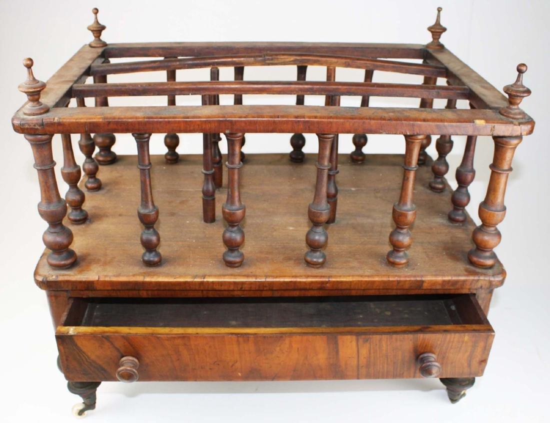 19th c Empire mahogany veneered 1 drawer canterbury - 3
