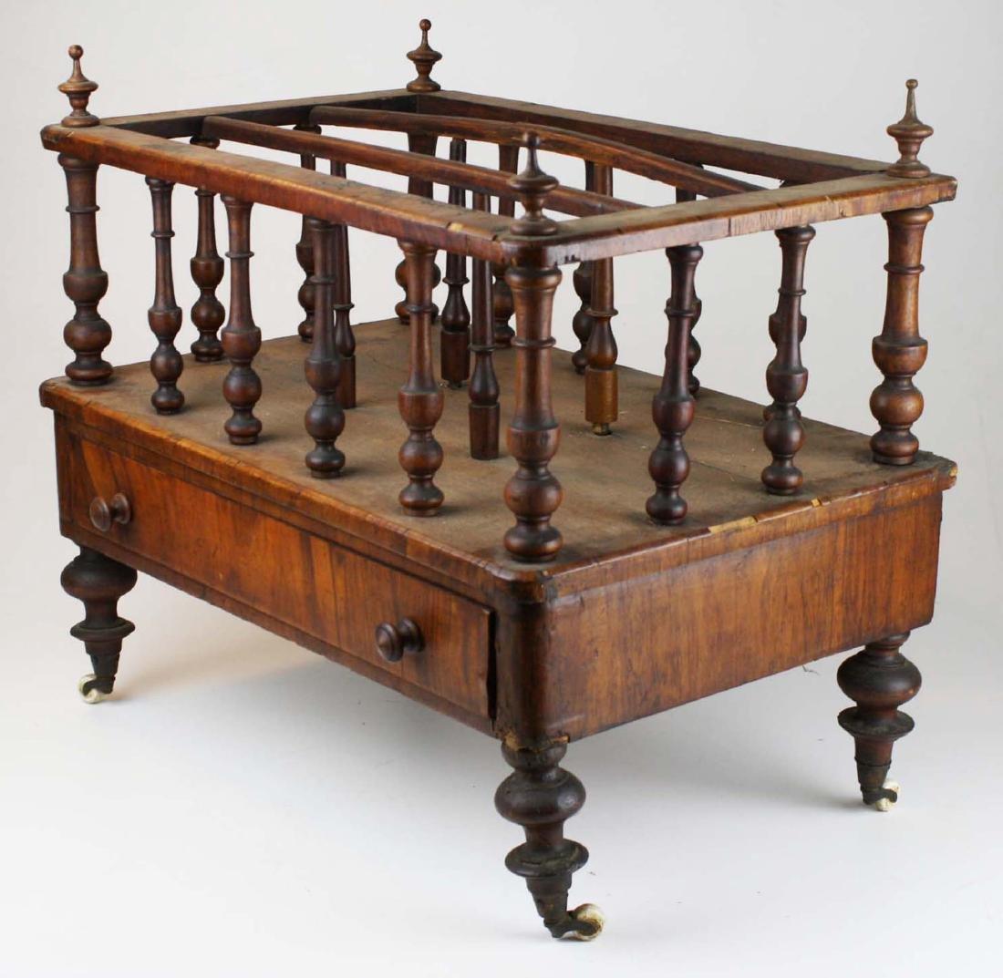 19th c Empire mahogany veneered 1 drawer canterbury - 4