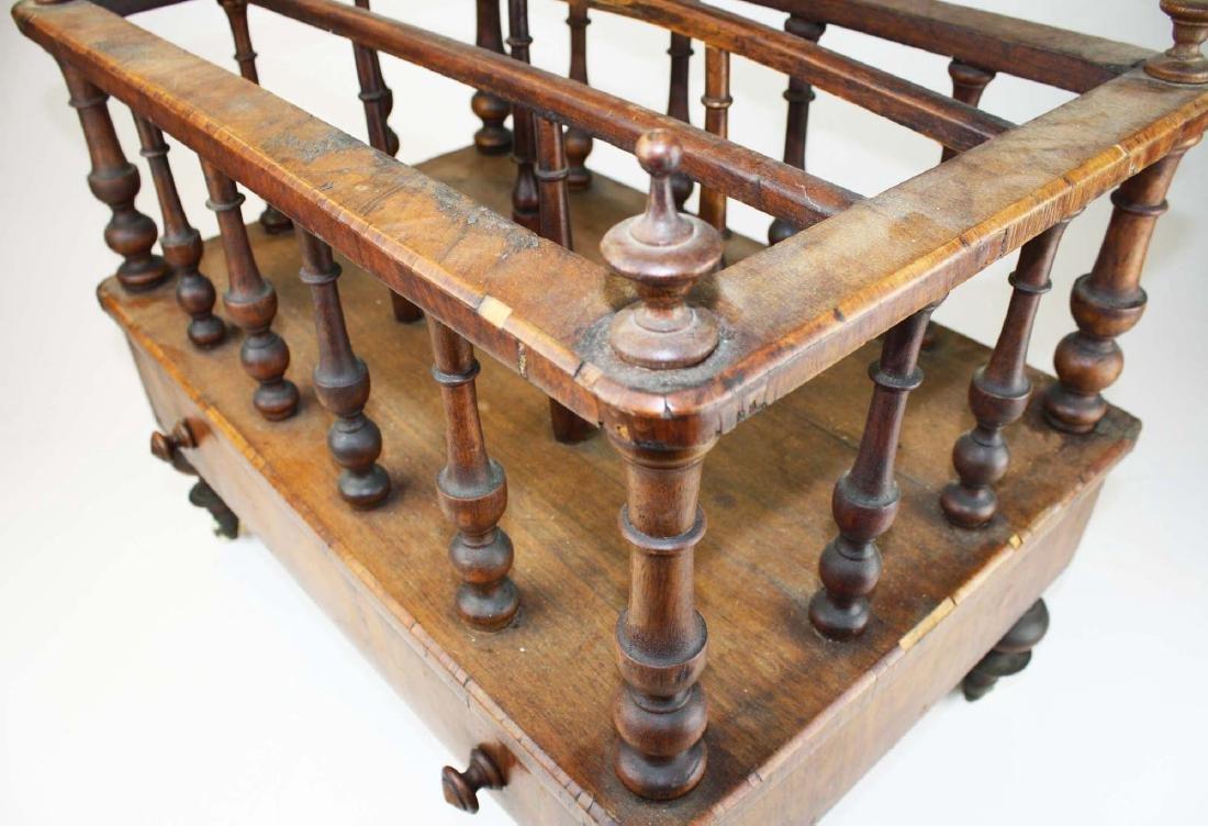 19th c Empire mahogany veneered 1 drawer canterbury - 5