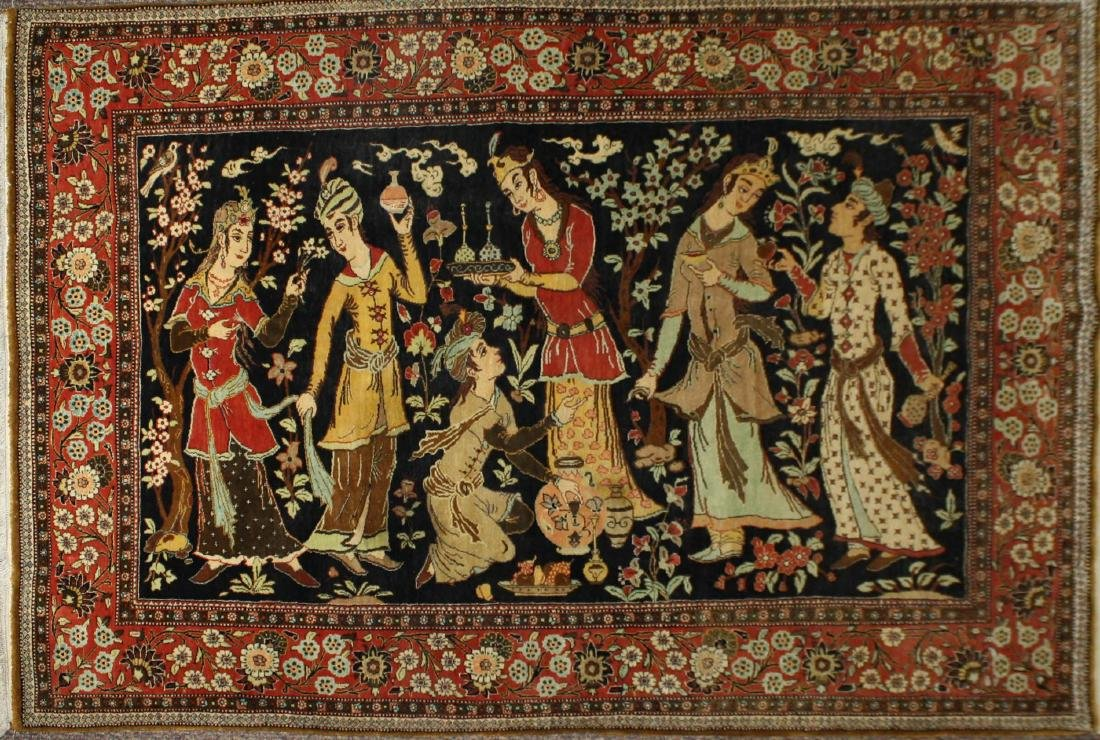 late 20th c Persian Isphahan pictorial rug w/ figures