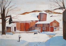 20th C Stowe Vermont illustration of a barn signed