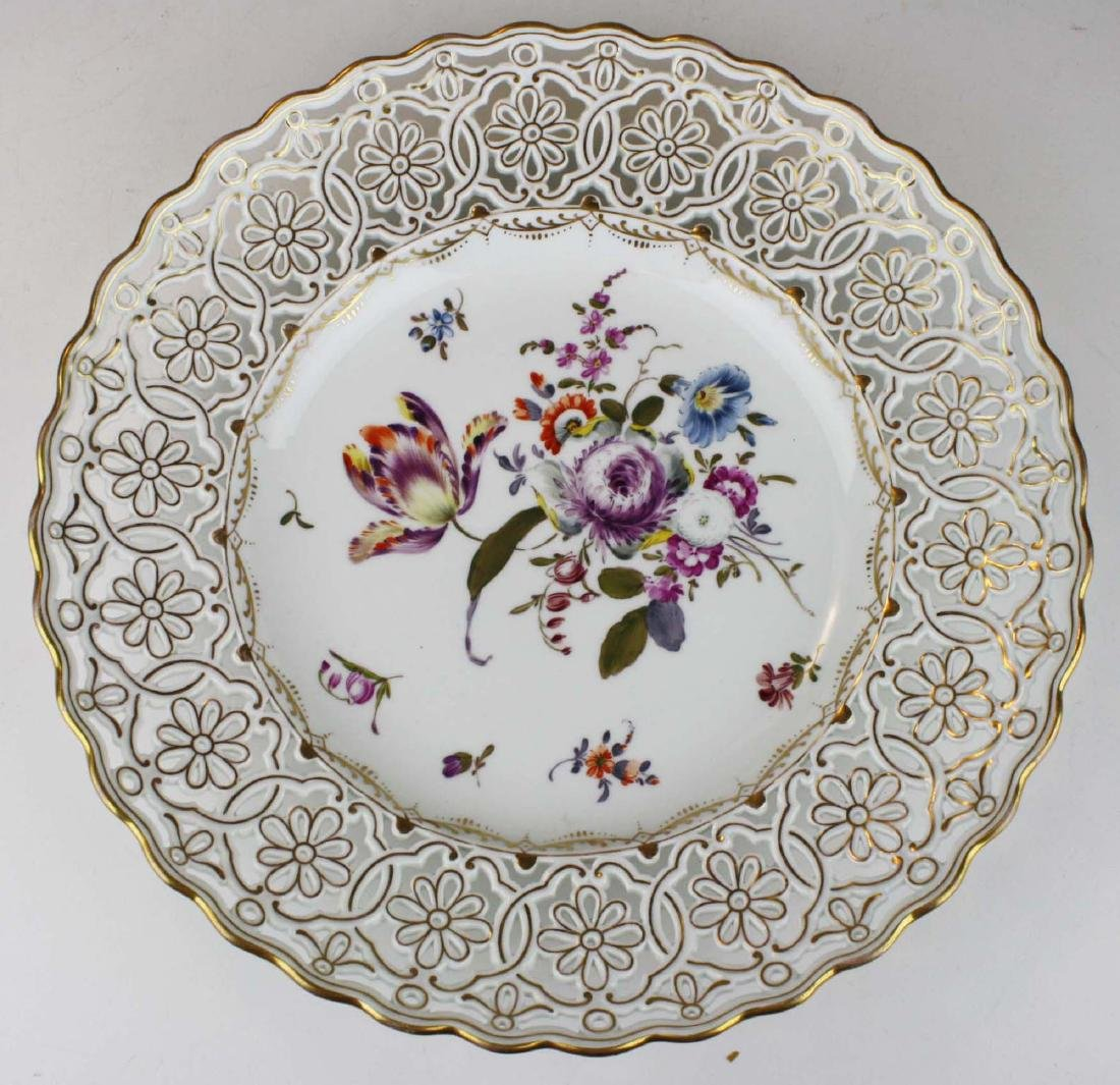 reticulated Dresden porcelain charger with gilt accents