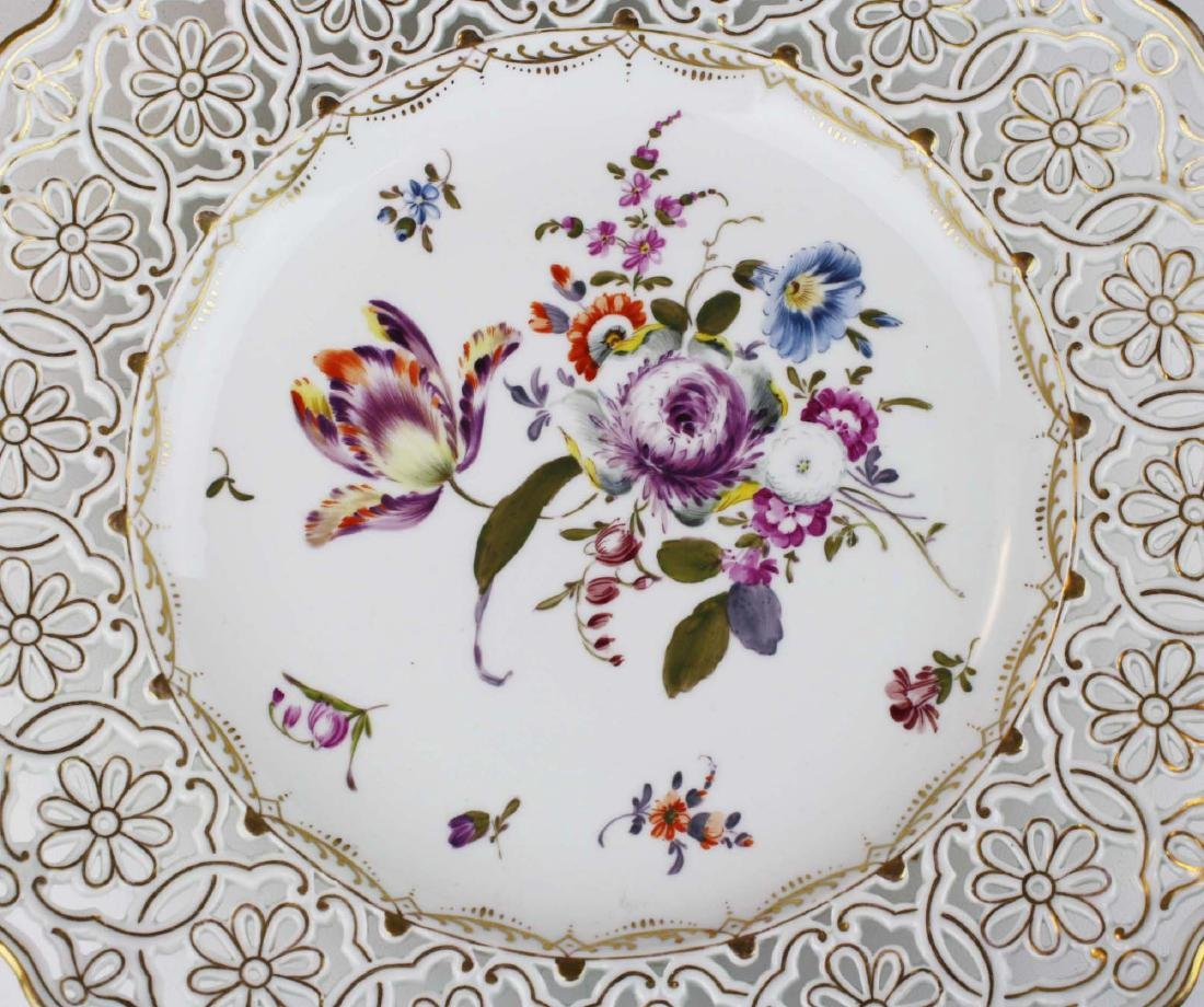 reticulated Dresden porcelain charger with gilt accents - 2