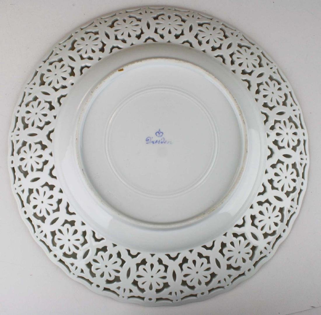 reticulated Dresden porcelain charger with gilt accents - 3
