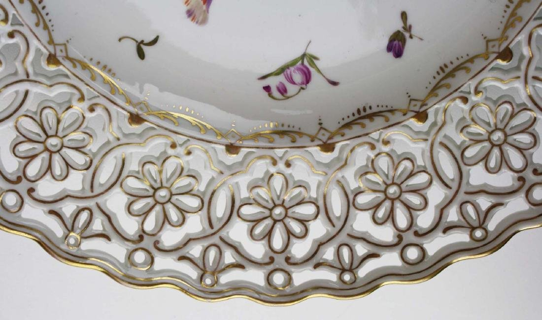 reticulated Dresden porcelain charger with gilt accents - 5