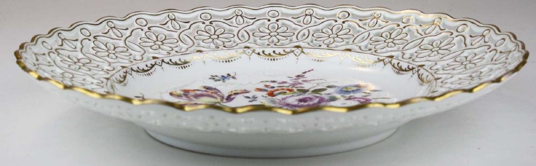 reticulated Dresden porcelain charger with gilt accents - 7
