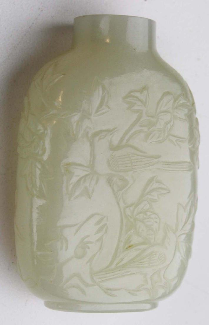 Chinese antique carved white jade snuff bottle. - 2