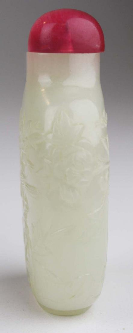 Chinese antique carved white jade snuff bottle. - 6