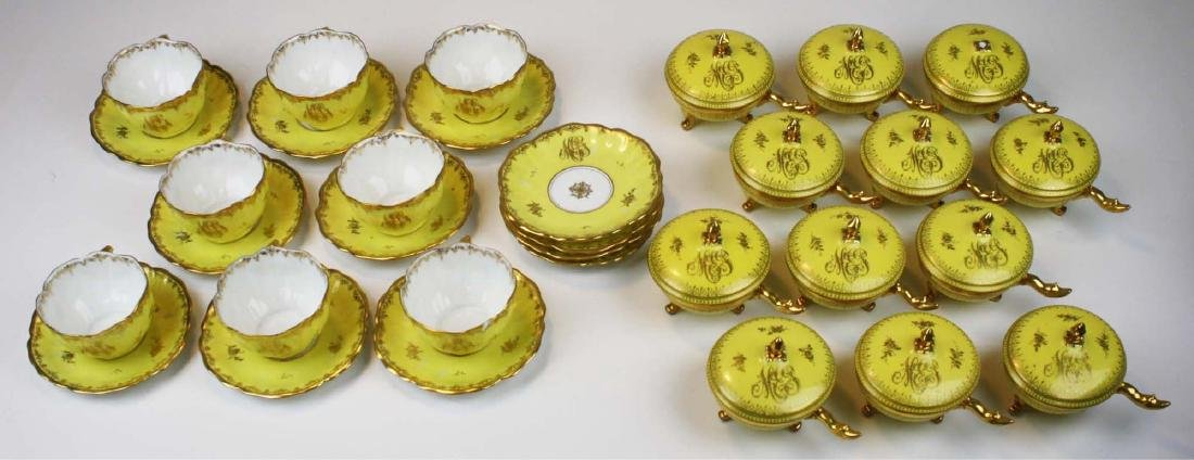 8 yellow Dresden cups and saucers and 12 covered pot de