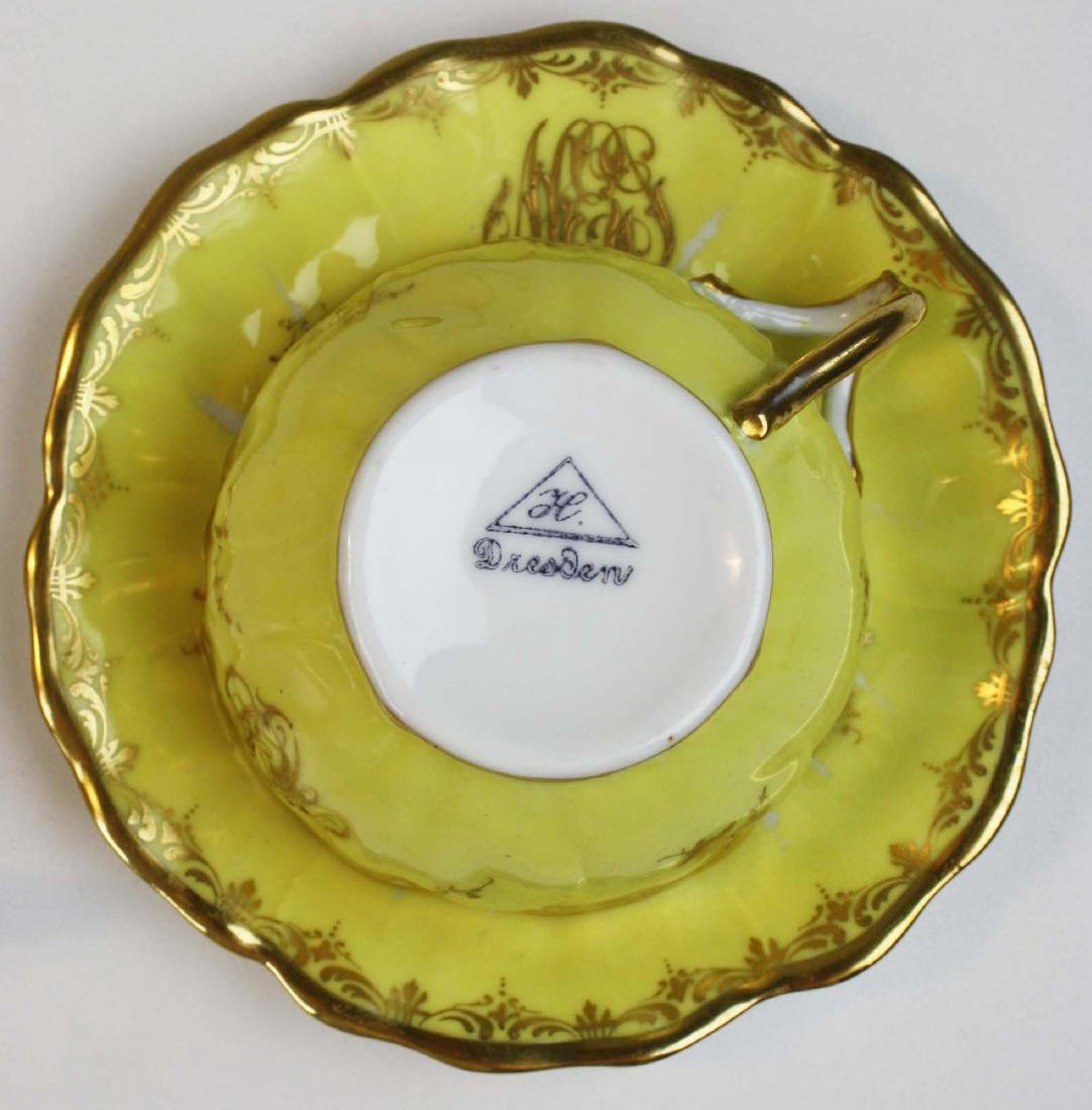8 yellow Dresden cups and saucers and 12 covered pot de - 3