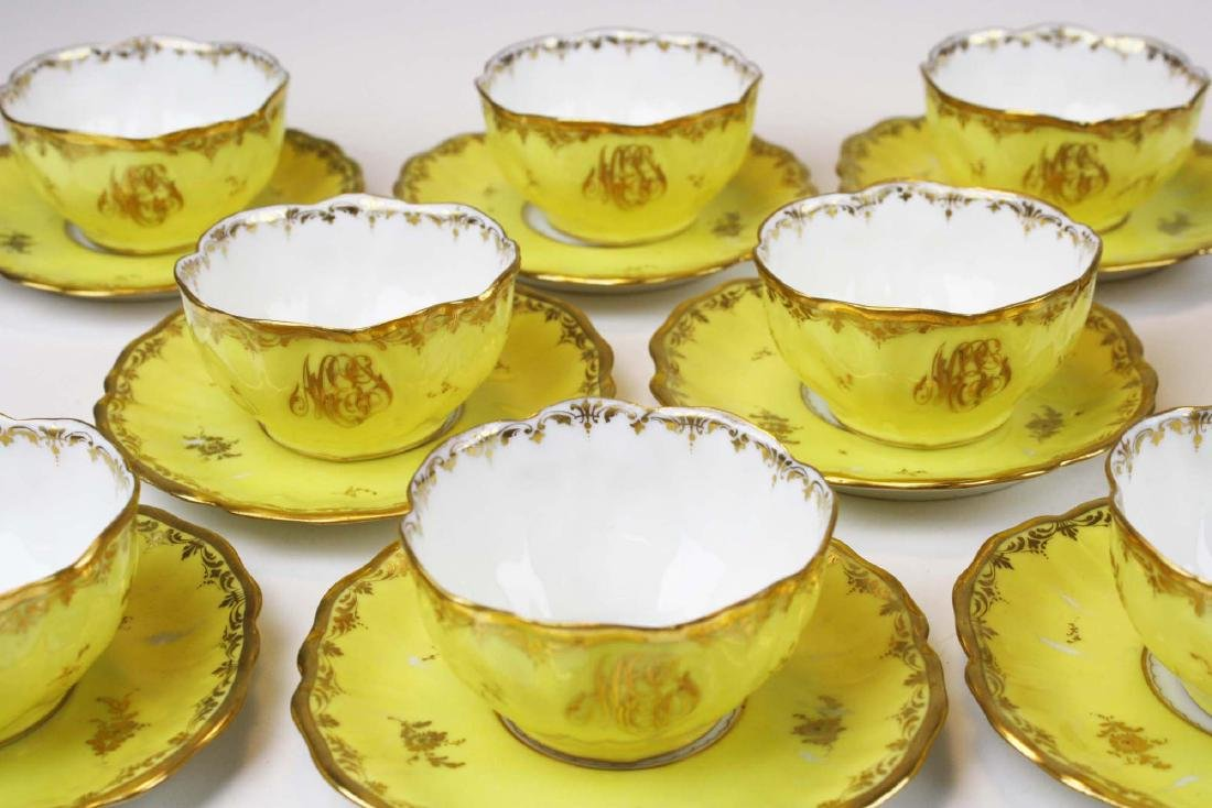 8 yellow Dresden cups and saucers and 12 covered pot de - 5