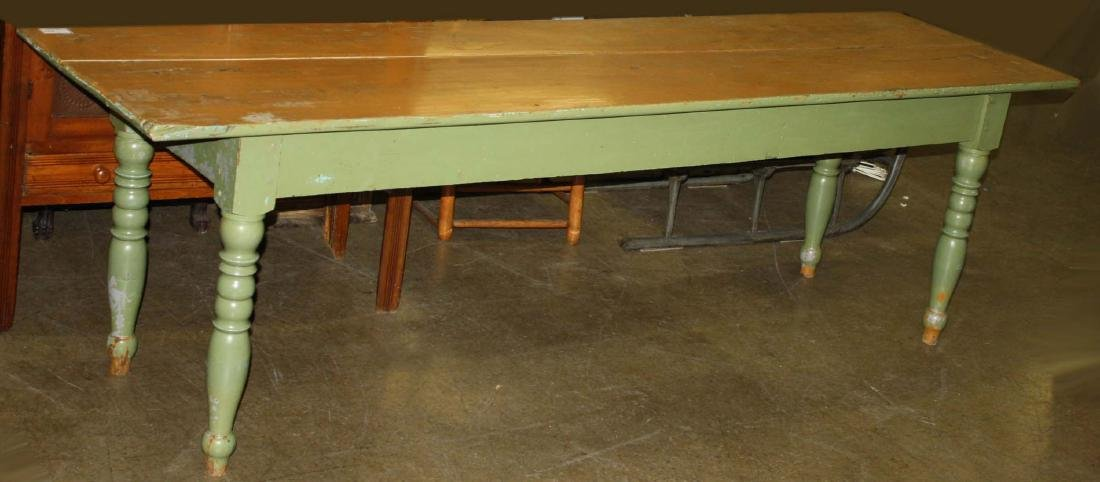 19th c farm table in later green and yellow paint