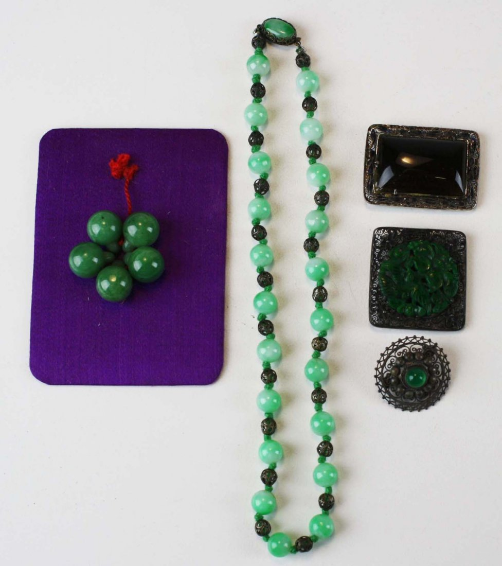 Lot of 5 Chinese ca. 1900 jewelry items.